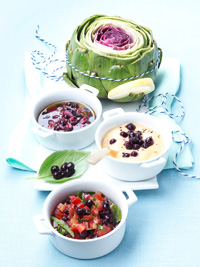 Artichokes with Three Blueberry Dips Picture