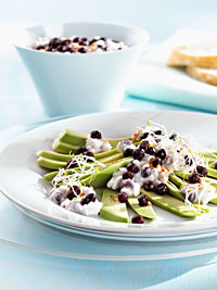 Avocado Carpaccio with Wild Blueberry Cottage Cheese Mix Picture