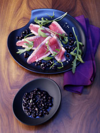 Tuna Carpaccio with Wild Blueberry Wasabi Sauce Picture