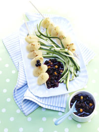 Gnocchi Skewers with Wild Blueberry Sauce Picture