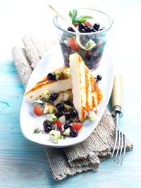 Halloumi Cheese with Tomato Blueberry Salad Picture