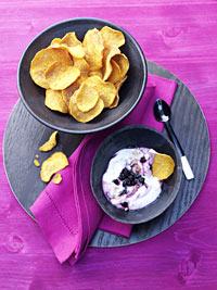 Kumera Crisps with Wild Blueberry Vanilla Chili Marmalade Picture