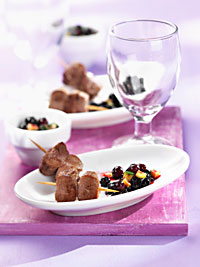 Lamb Skewers with Wild Blueberry Zucchini Salsa Picture