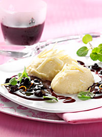 White Chocolate Mousse with Wild Blueberry Sauce Picture