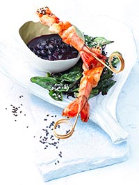 Shrimp Skewers with Spicy Wild Blueberry Sauce Picture