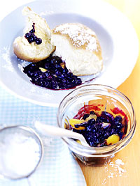 Sweet Cakes with Wild Blueberry Apricot Sauce Picture