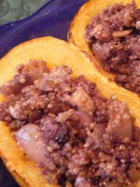 Stuffed Winter Squash with Wild Blueberry Quinoa Pilaf