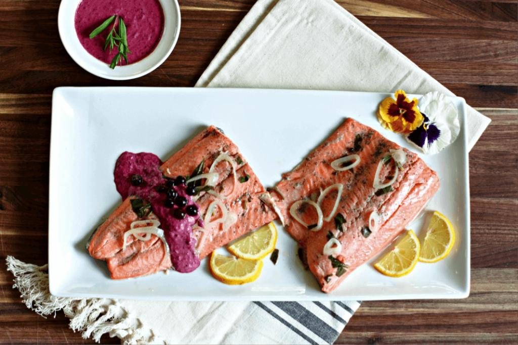 Wild Blueberry Poached Salmon