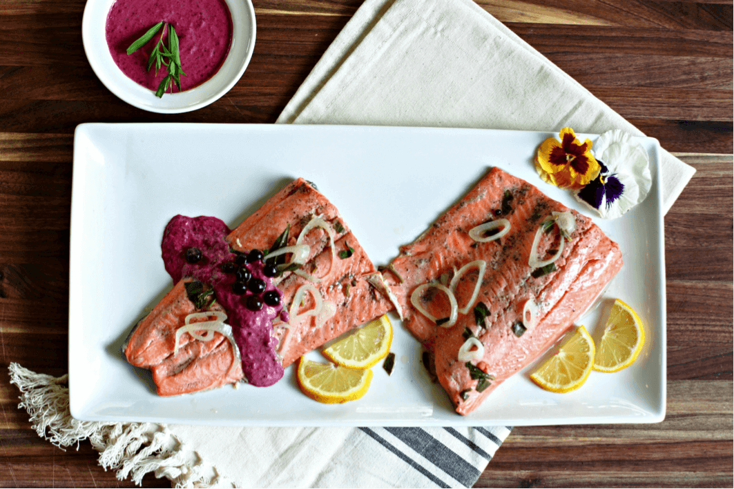 Poached Salmon and Wild Blueberry Crème Fraiche Picture