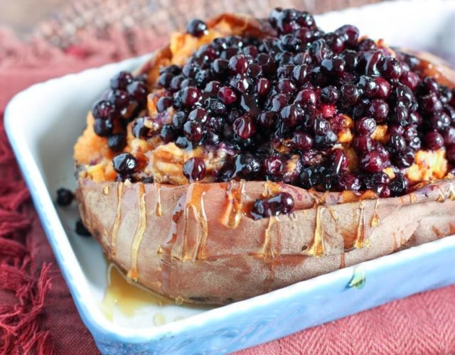 Twice Baked Sweet Potato with Wild Blueberries