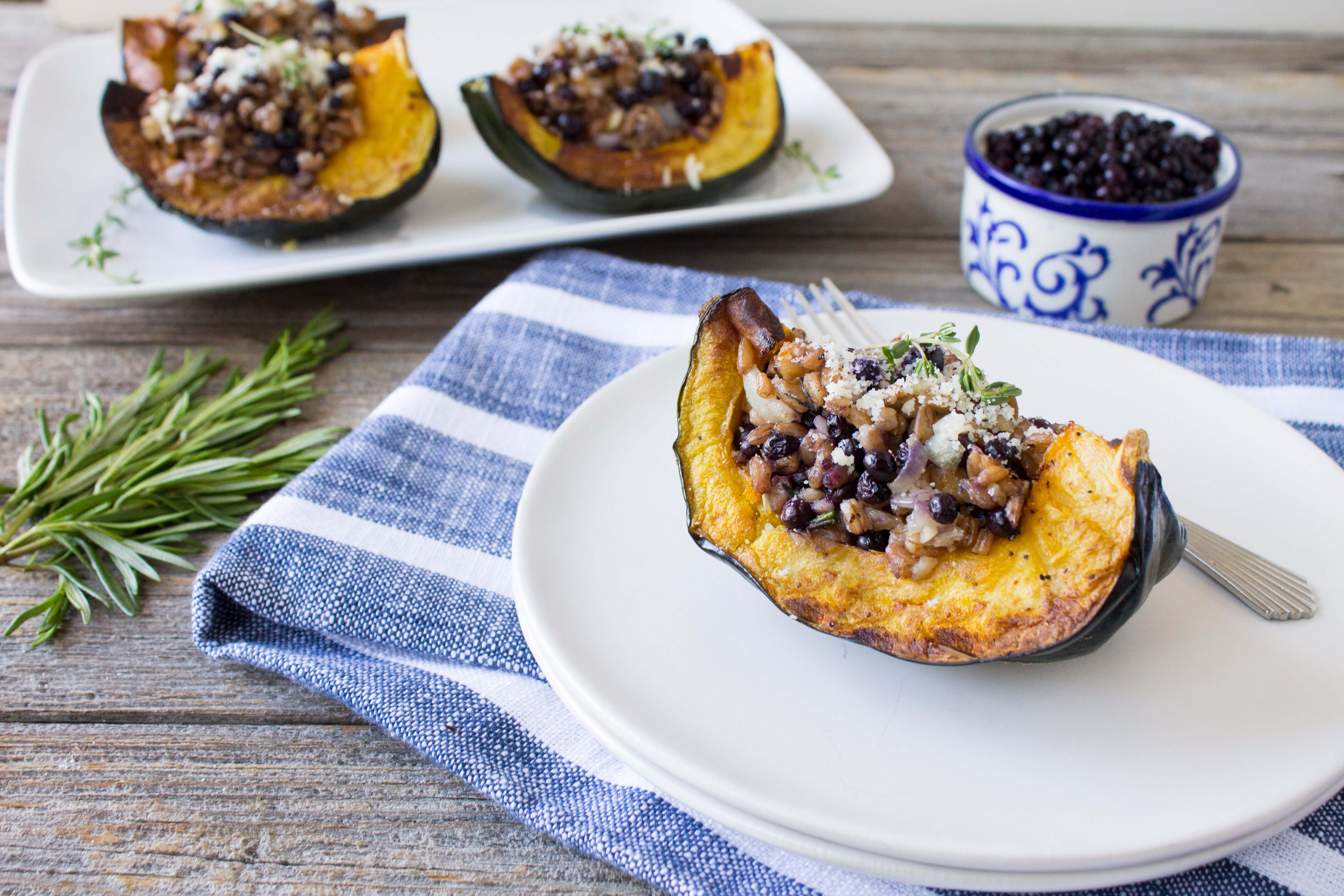 Stuffed Acorn Squash with Farro and Wild Blueberries Picture