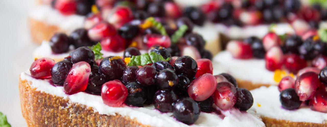 Wild Blueberry and Pomegranate Bruschetta