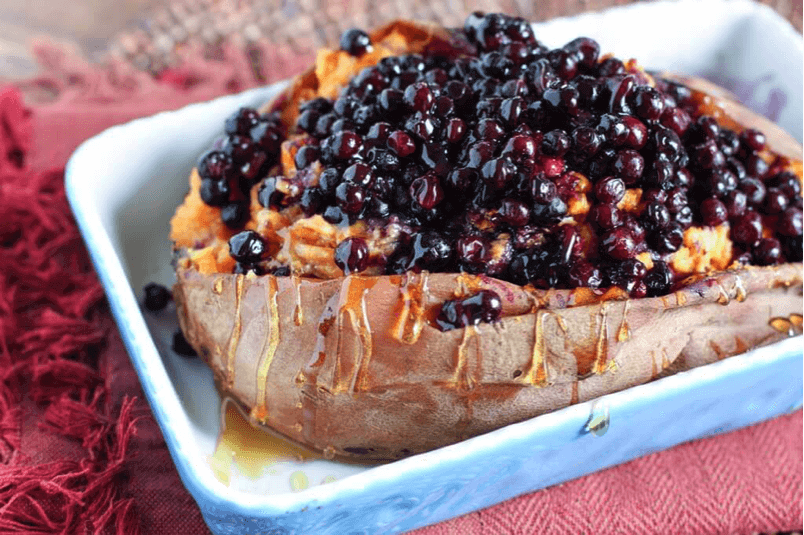 Wild Blueberry Baked Sweet Potato
