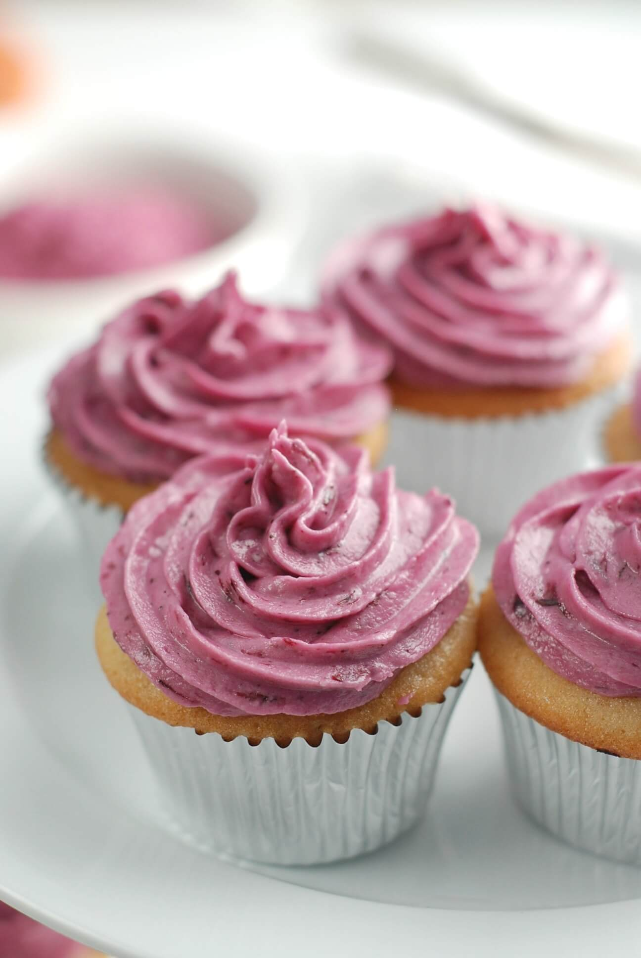 Naturally-Colored Wild Blueberry Buttercream Frosting Picture