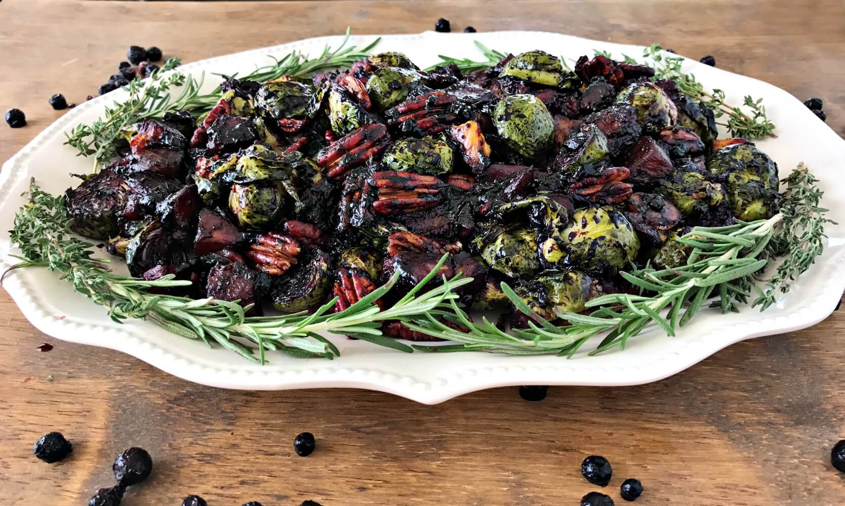 Roasted Vegetables & Pecans with Wild Blueberry Balsamic Sauce Picture