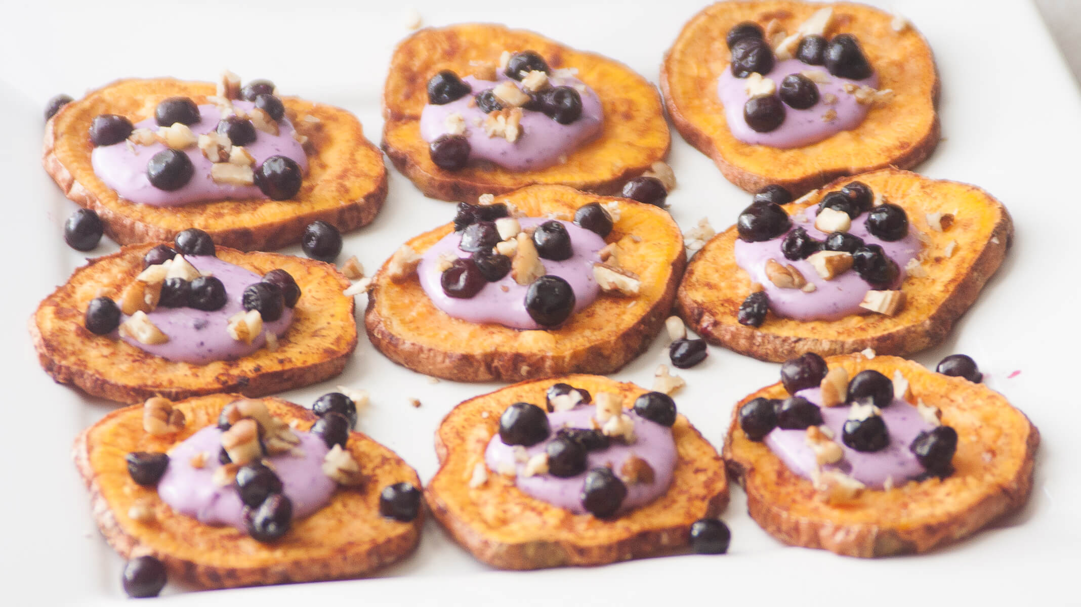 Maple Cinnamon Sweet Potato Coins with Wild Blueberry Goat Cheese Picture
