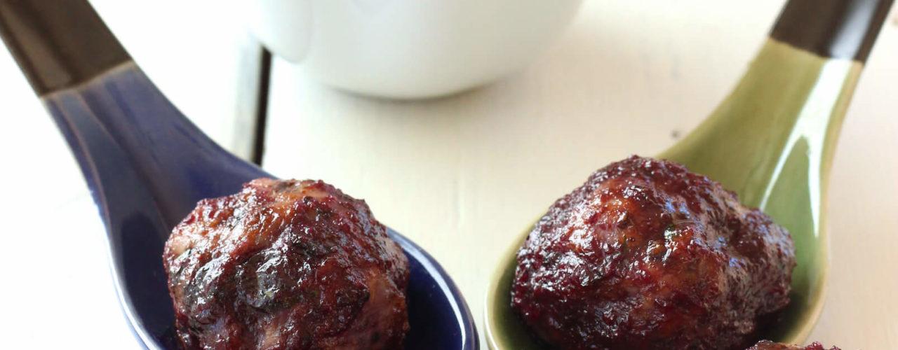 Skinny Turkey Meatballs with Wild Blueberry BBQ Sauce