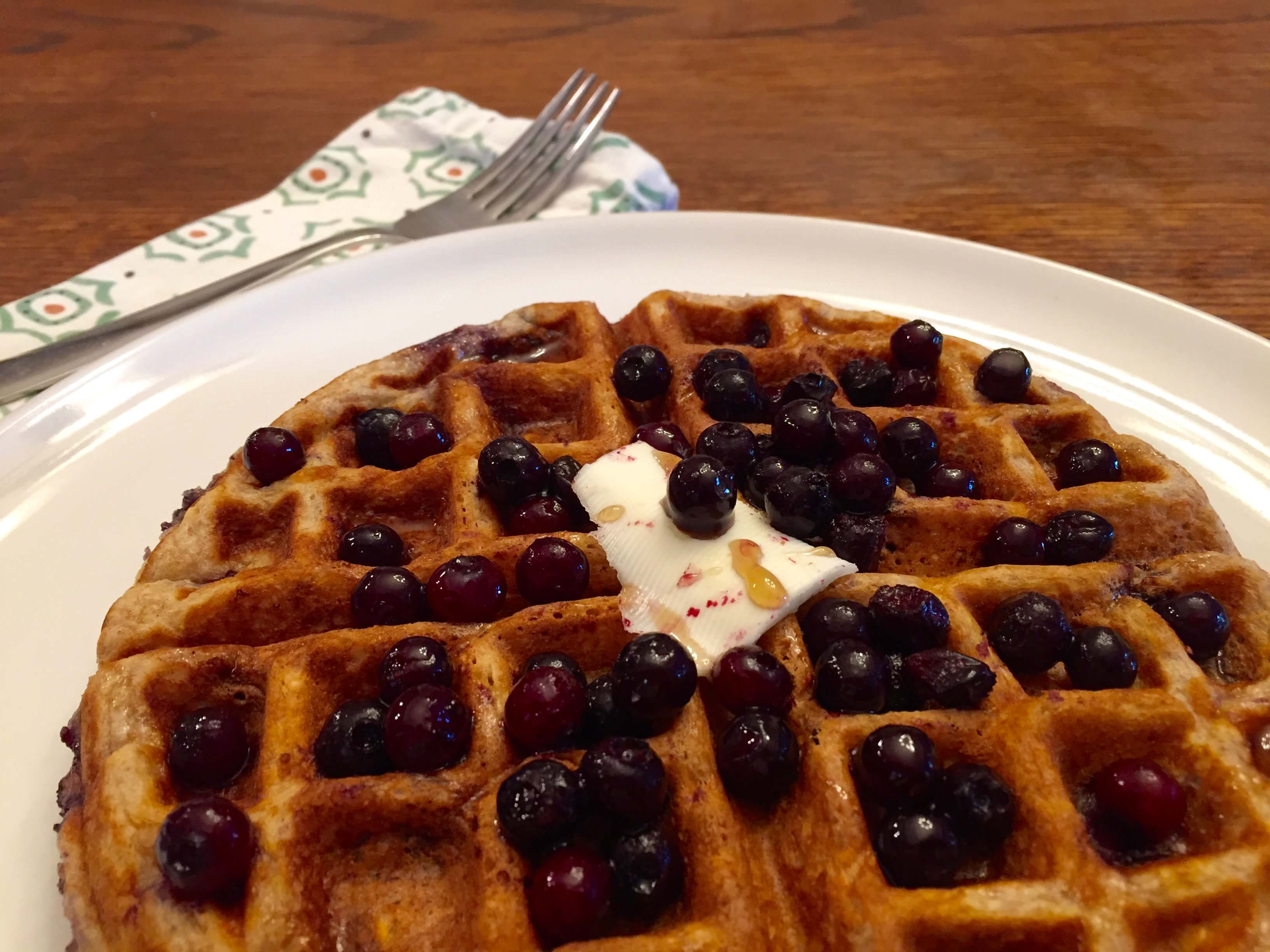 Wild Blueberry Oatmeal Waffles Picture