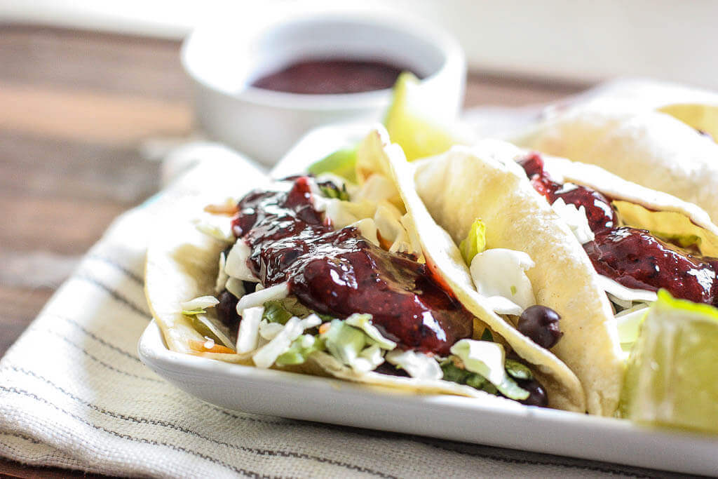 5-Minute Black Bean Tacos with Wild Blueberry Sauce Picture
