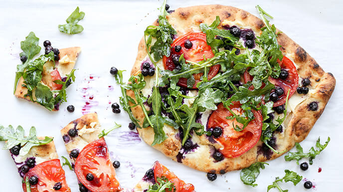 Wild Blueberry, Tomato and Goat Cheese Naan Pizza Picture
