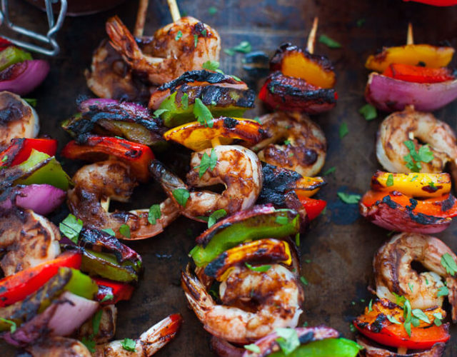 Shrimp and Veggie Kabobs with Wild Blueberry Barbecue Sauce