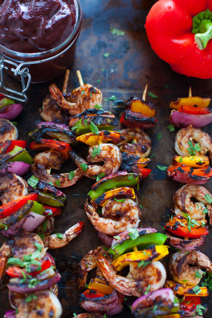 Shrimp and Veggie Kabobs with Wild Blueberry Barbecue Sauce Picture