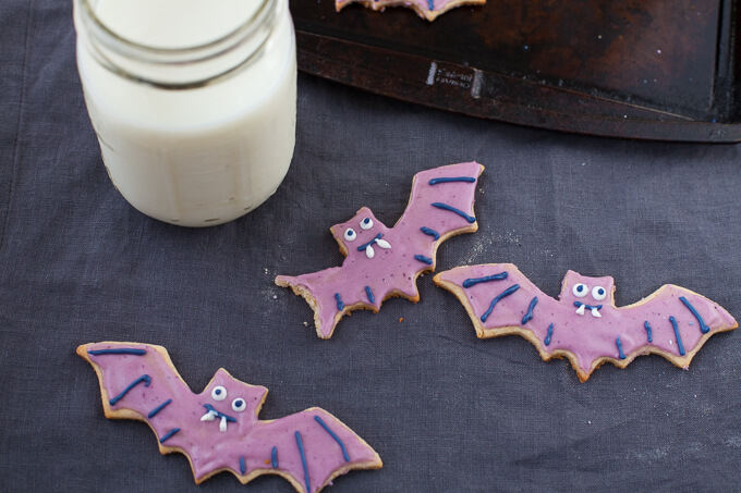 Easy Bat-Shaped Cookies with Naturally-Colored Wild Blueberry Icing Picture
