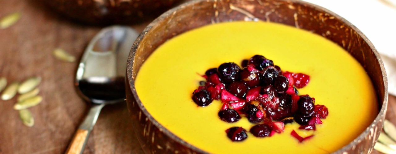 Butternut Squash Soup with Wild Blueberry Relish
