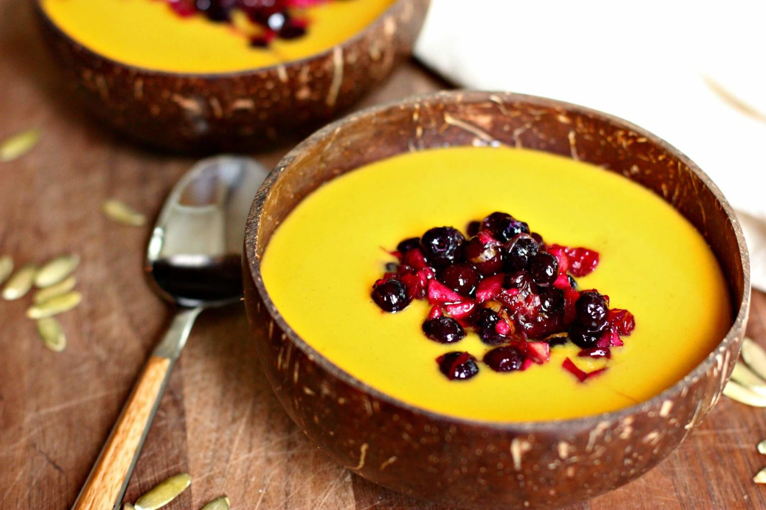 Butternut Squash Soup with Wild Blueberry Relish Picture
