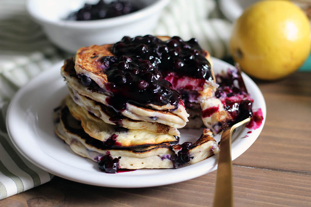 Wild Blueberry Ricotta Pancakes Picture
