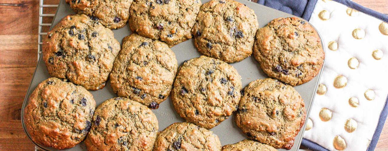 Wild Blueberry & Matcha Bran Muffins