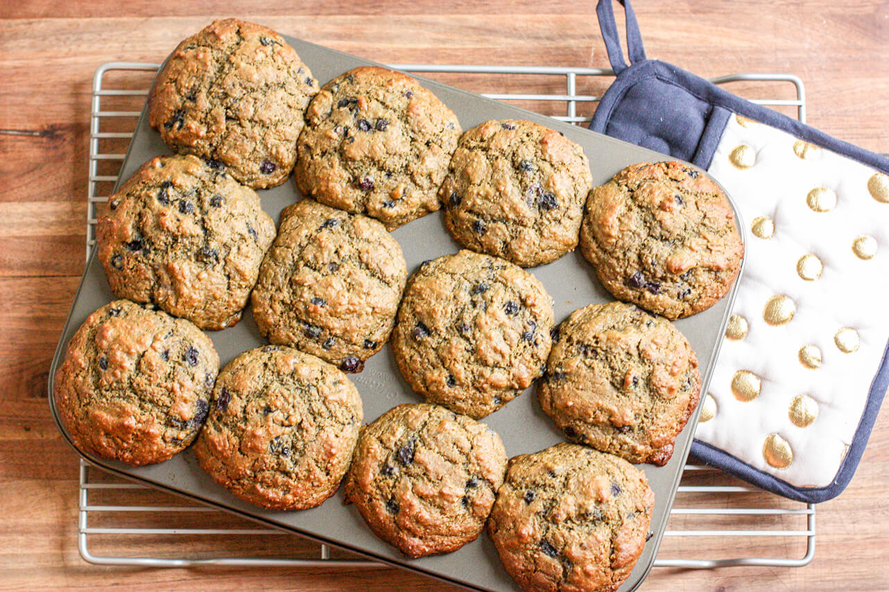 Wild Blueberry & Matcha Bran Muffins Picture