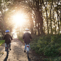 Kids riding bikes into the sunset