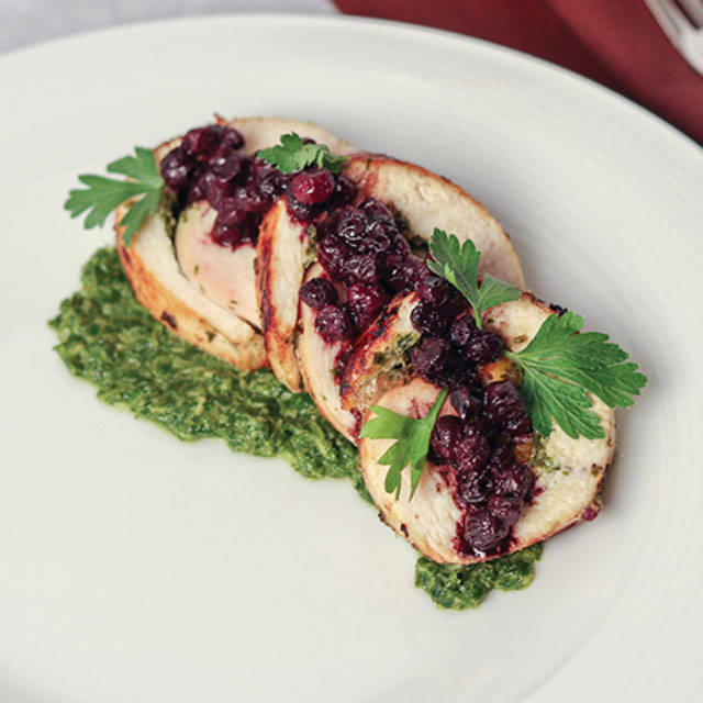 Pesto Chicken Roulade <em>with</em> Wild Blueberry Agrodolce